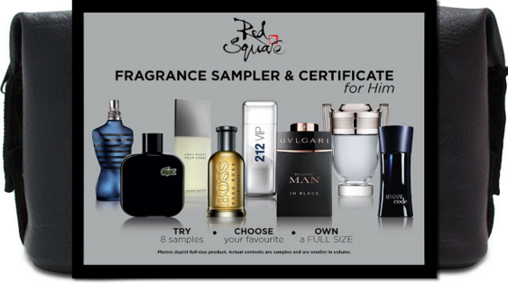 Red Square Fragrance Sampler and Gift Certificate for men for valentines day