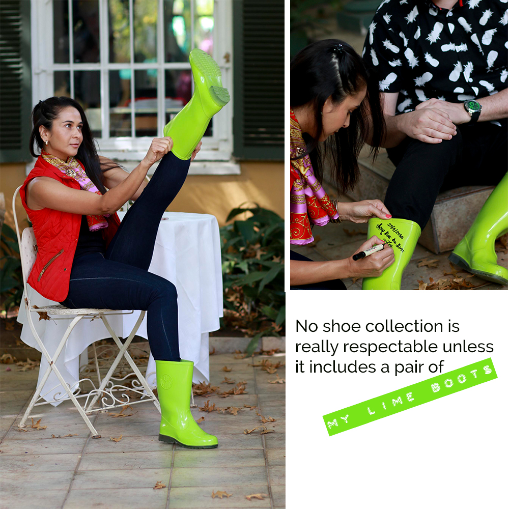 Zuraida Jardine in Lime Boots for a fashion pow wow