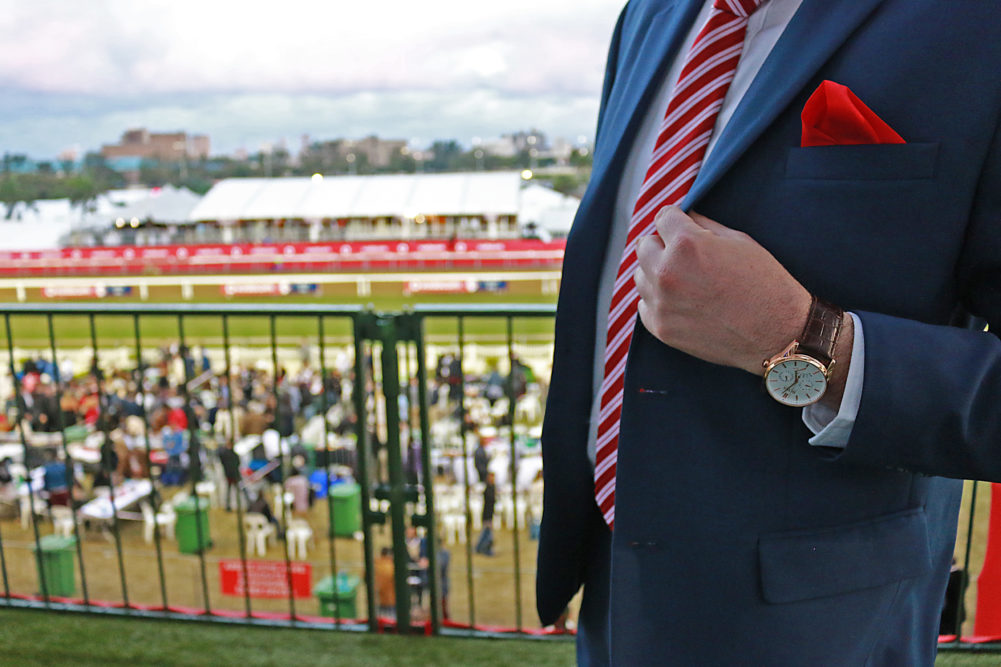 Hugo Boss Aeroliner watch for Durban July fashion look book