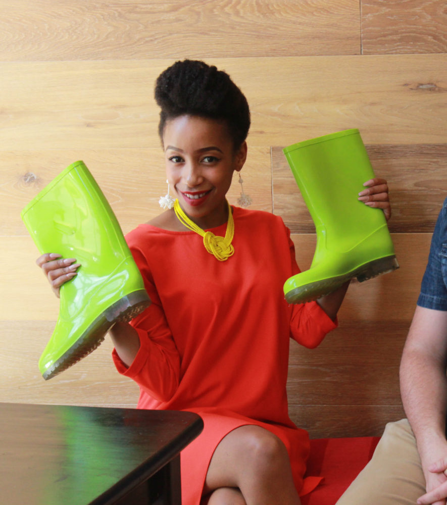 Ayanda Nhlapo and her My Lime Boots on My Lime Boots