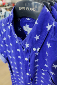 Blue shirt with white stars