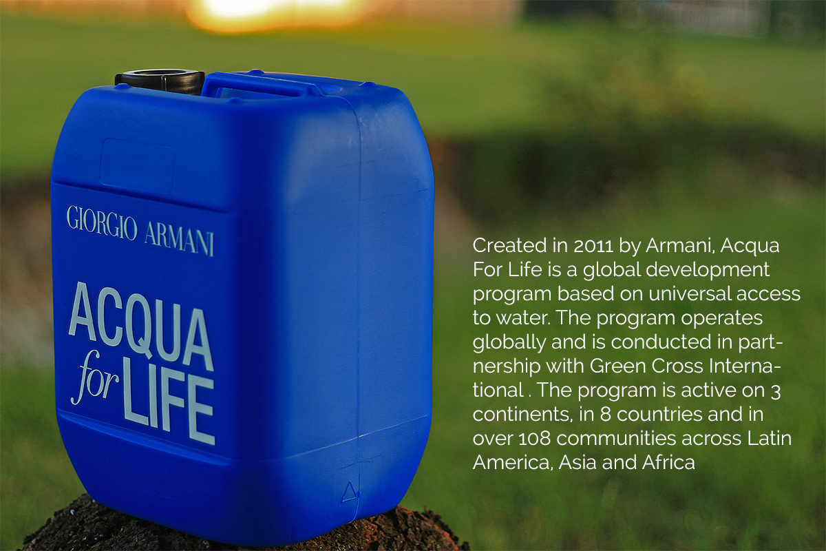 Acqua For Life Jerry Can for World Water Day Armani
