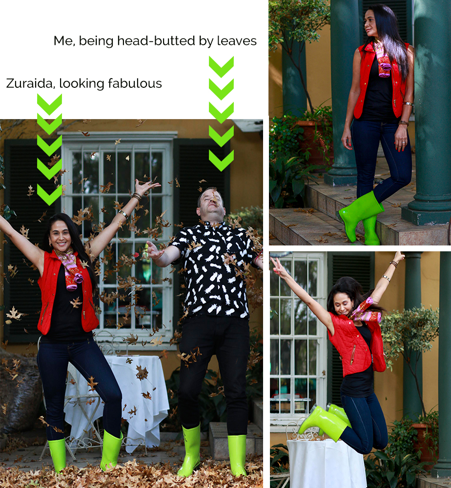 Lime boot posing with Zuraida Jardine for fashion Pow wow