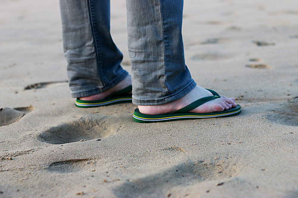 Jeans and flipflops on the beach for Durban July Fashion Look Book