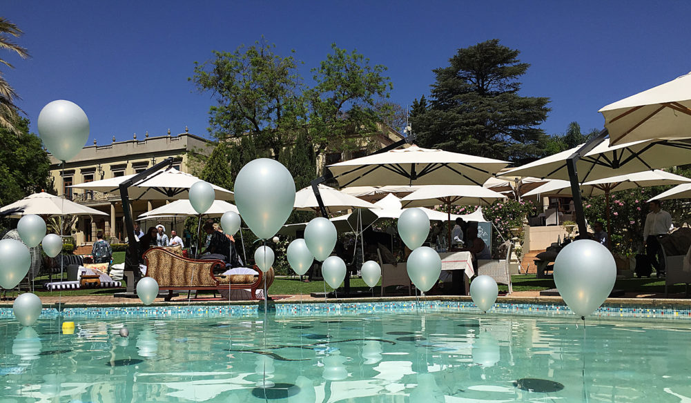 Balloons in pool at Fairlawns