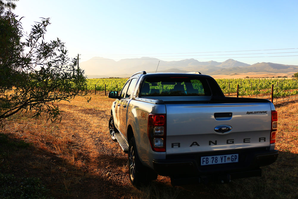 Ford Ranger Wildtrak in vineyards of Wildekrans Wine Farm on My Lime Boots