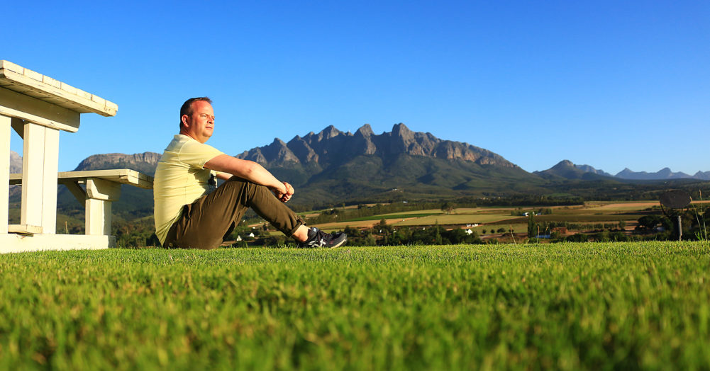 Contemplating the Bovlei Valley on My Lime Boots