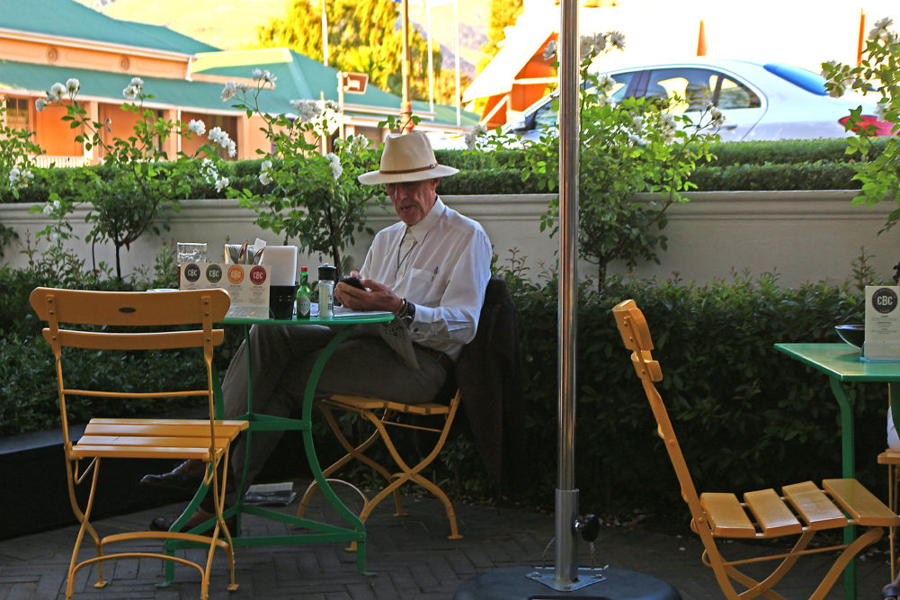 Man in a Franschhoek coffee shop on My Lime Boots