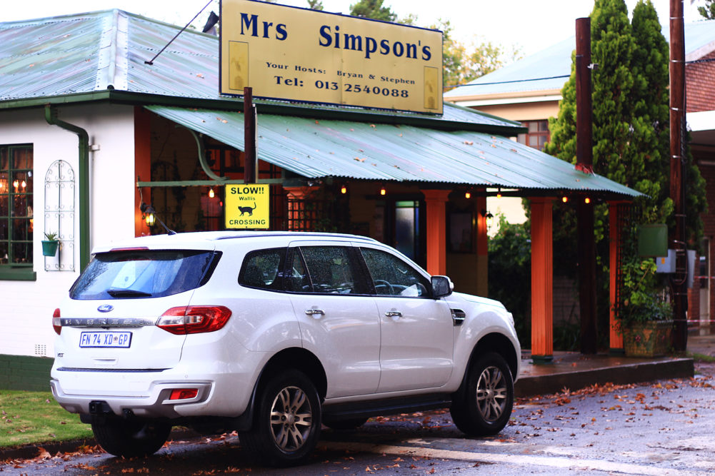 Ford Everest outside Mrs Simpsons Restaurant in Dullstroom on My Lime Boots
