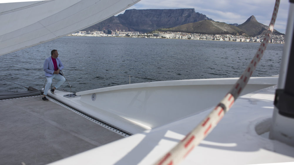 Sailing on MIrage 360 past Table Mountain on My Lime Boots