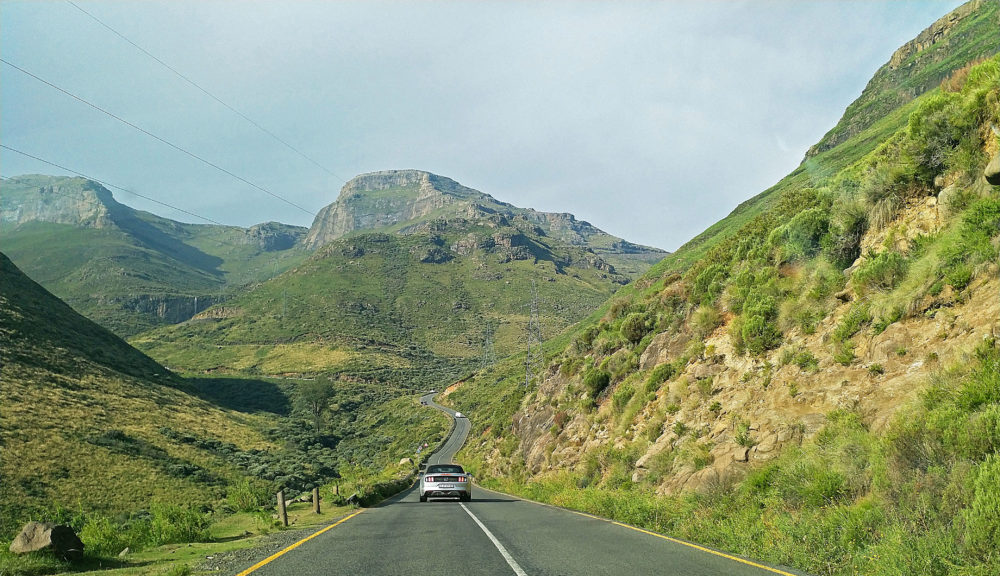 Driving in the mountain kingdom of Lesotho on My Lime Boots