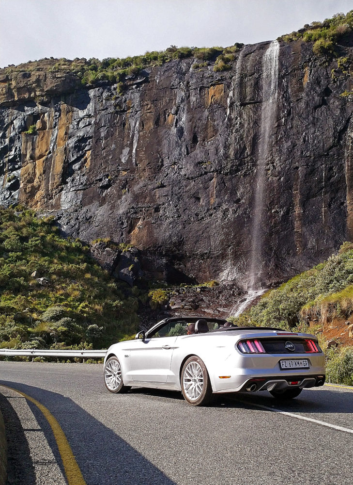 Ford Mustang at Lesotho waterfall on My Lime Boots