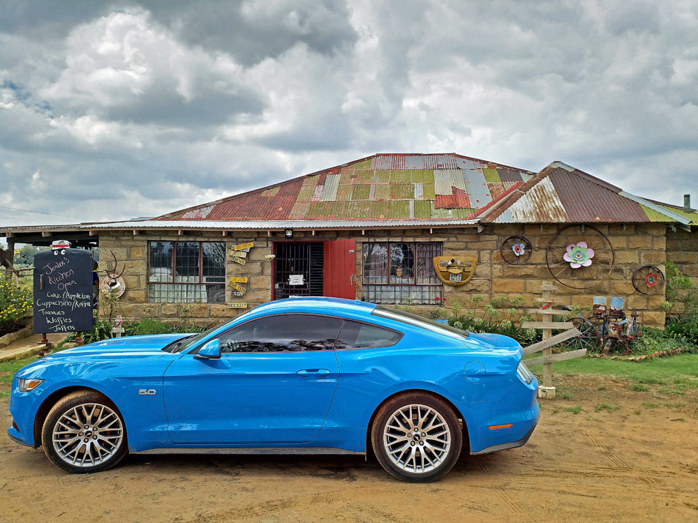 Ford Mustang outside Jenlees Country Shop and Bistro on My Lime Boots