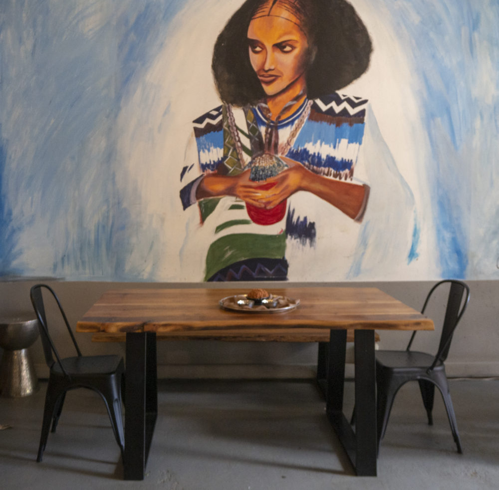 Traditional lady mural at Habesha Ethiopian Cuisine in Maboneng on My Lime Boots