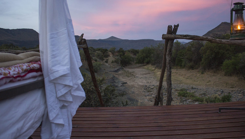 Sunset from the Star Bed at Samara Private Game Reserve on My Lime Boots