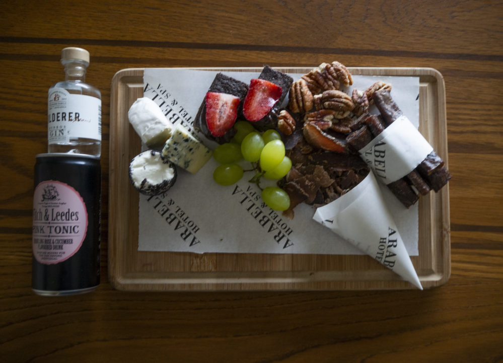 Gin and Biltong welcome at Arabella Hotel and Spa on My Lime Boots