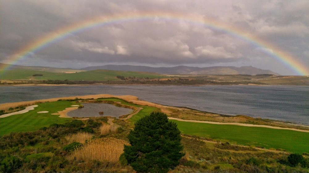 Rainbow over lagoon at Arabella Hotel and Spa on My Lime Boots