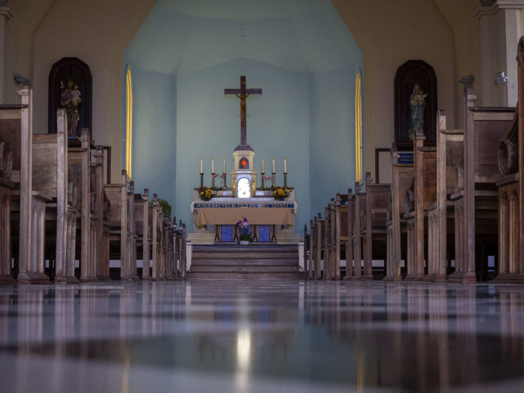 Interior of the church of Notre Dame des Neiges in Cilaos on Reunion Island